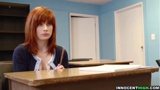 InnocentHigh – redhead coed with hairy pussy Sadie Kennedy deepthroats bigcock