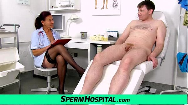 Old grandma doctor Linda stockings and young patient handjob