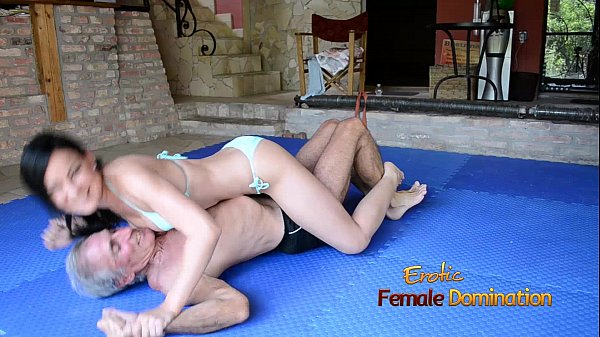 Turquoise Bikini Girl Wrestles Old Guy