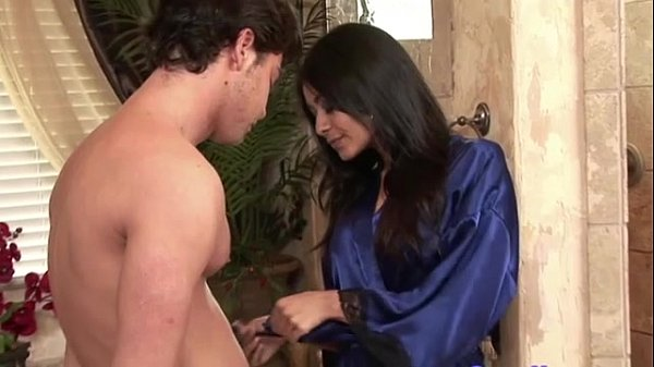 Asian massage babe showers with her client