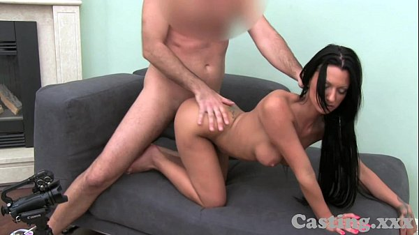 Casting HD Black haired temptress loves doggy style