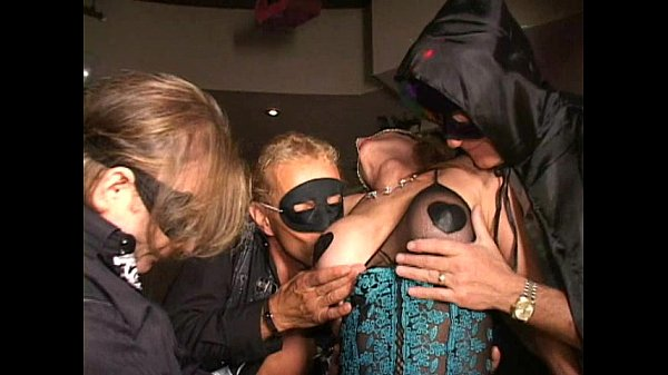 Masked bigclit MILF cums twice Cunt sucked Fucked w dildo at orgy Long edit
