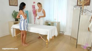 Mira Sunset and Vivien Bell in Sapphic massage lesbians by SapphiX