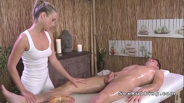 Naked guy gets massage and sex with blonde masseuse