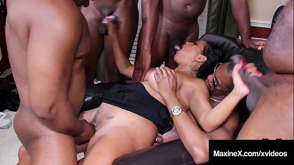 Oriental Orgy! Asian Maxine X Butt Fucks With 6 Black Cocks!