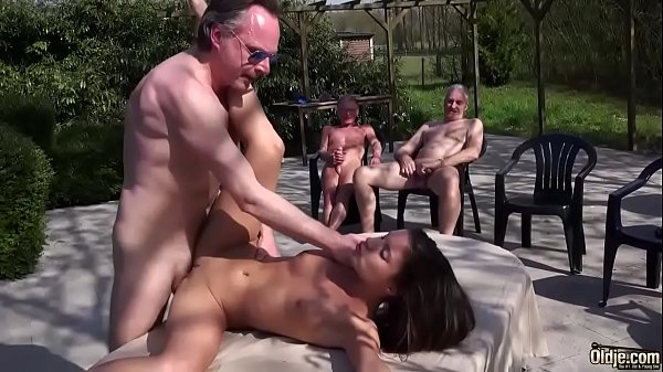 Skinny girl gangbang with old