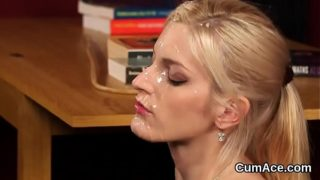 Spicy sex kitten gets jizz shot on her face swallowing all the cream