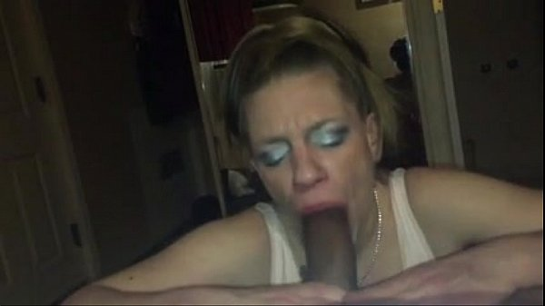 Whore deepthroats bbc till he cums in here throat