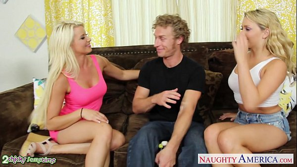 Blondes Anikka Albrite and Mia Malkova fucking in threesome