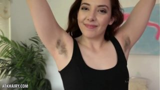 Ember Stone rubs her hairy crotch for you