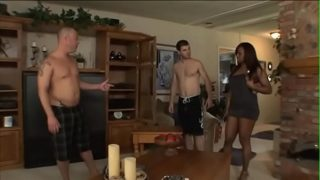 Stunning ebony goddes Jada Fire convince couple of moving men hold off on that for right now with furniture embarking