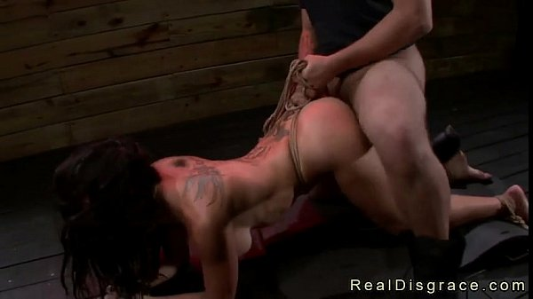 Tattooed bound babe deep throat and pussy fucked