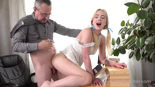 Tricky Old Teacher – Cute blonde works hard to get education