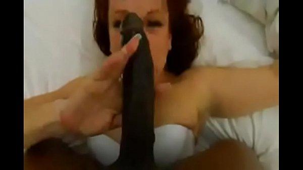 White woman deep throats 13 inch black dick