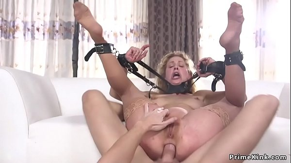 Gagged officer anal fucked in bondage