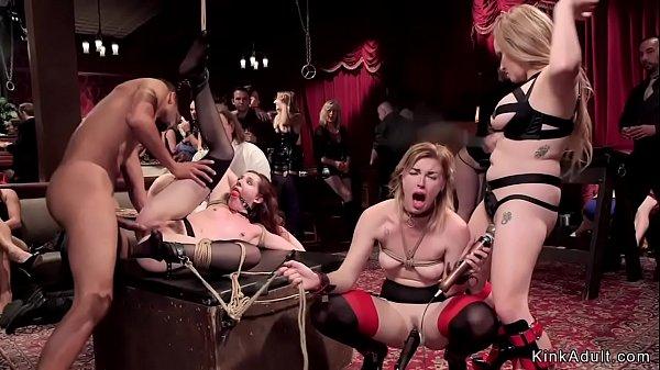 Slaves fucking in bondage at bdsm party