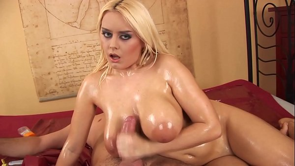 Slow Oiled Handjob, Masseuse babe Hot Busty Massive Tits MILF jerking oily cock in Amateur POV