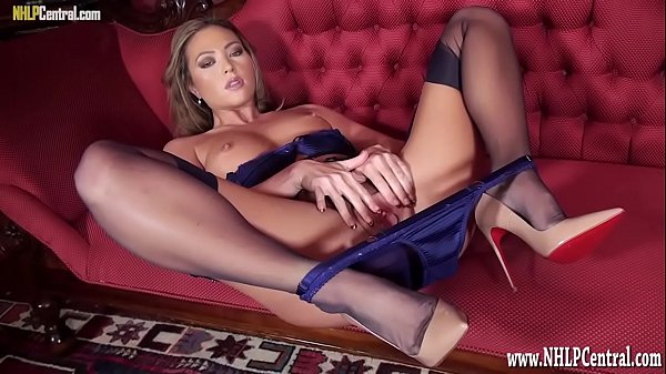 Blonde nylon lingerie heels pussy tease