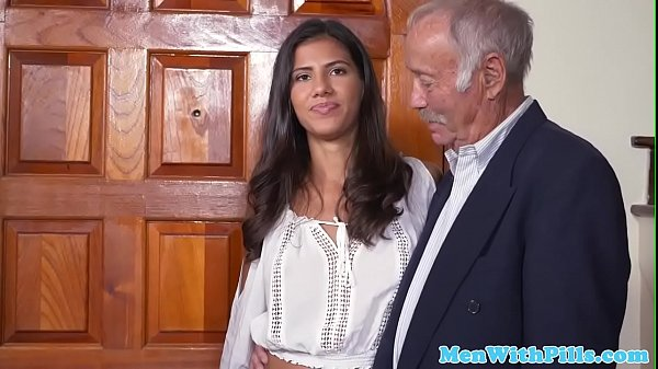 Young latin babe pussyfucked on grandpa party