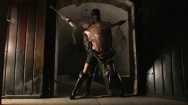 BDSM model Alex Zothberg punished by a soldier in basement1