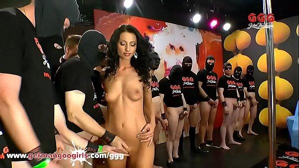 Petite Babe Swarmed by Cocks in German Gangbang GermanGoogirls