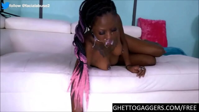 Degraded Ebony Whore Deep Throats Two White Dicks